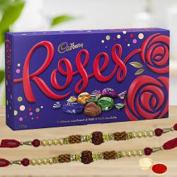 2 Rakhis with Cadbury Roses Chocolates box