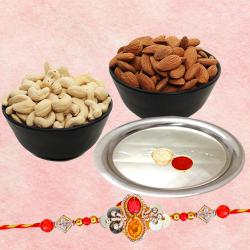 Rakhi with Silver Plated Thali and Dry Fruits