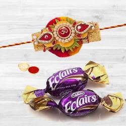 Fancy Stone Rakhi with Chocolates