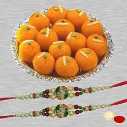 Boondi Ladoo with Twin Designer Rakhi