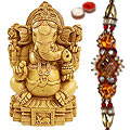 Sandalwood Lord Ganesha with Rakhi and Roli Tilak Chawal