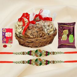 Exquisite Gift of Stone Rakhi with Dry Fruits n Sweets