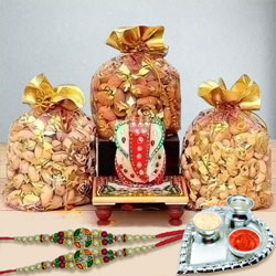 Fancy Stone Rakhis with Dry Fruits, Marble Ganesha n Paan Shaped Thali