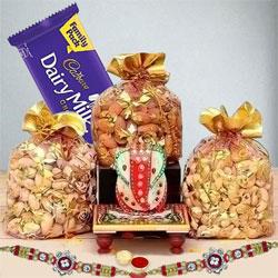 Designer Rakhi with Dry Fruits, Cadbury Dairy Milk n Marble Ganesha