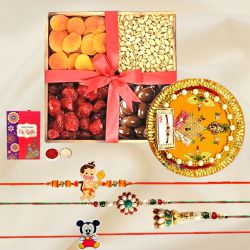 Lovely Family Rakhi Set N Puja Thali with Exotic Dried Fruits