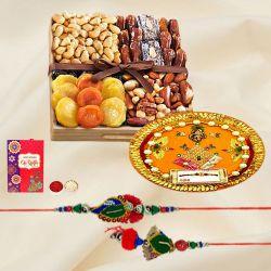 Lovely Bhaiya Bhabhi Rakhi with Dry Fruits Tray N Shree Rakhi Thali
