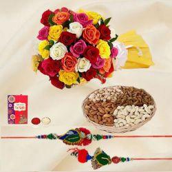 Fancy Bhaiya Bhabhi Rakhi Set with Dry Fruits n Mixed Roses Bouquet