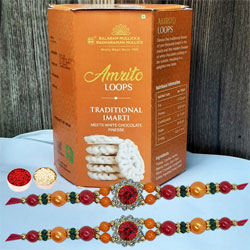 Lovely Twin Stone Rakhi N Delicious Imarti, Free Roli Tika N Card