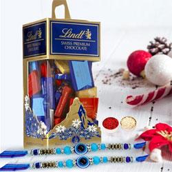Cool Pair of Evils Eye Rakhi with Lindt Chocolates n Card