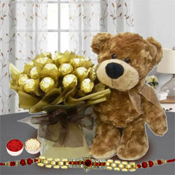 Suave Golden Bracelet Rakhi with Ferreo Rocher Bouquet n Brown Teddy