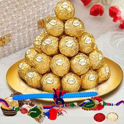 Pious Family Rakhi Set with Ferrero Rocher in Golden plated Thali