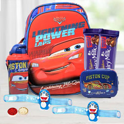 Showy Doremon Rakhi with Cadbury Dairy Milk N Kid's Backpack
