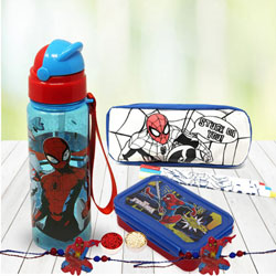 Exquisite Spiderman Rakhis with Kids Stationery N Canteen Set