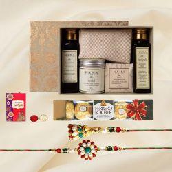 Amazing Bhaiya Bhabhi Rakhi with Kama Ayurveda Personal Care Kit
