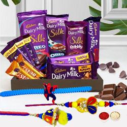 Delightful Family Rakhi Set with Cadbury Chocolate Treat