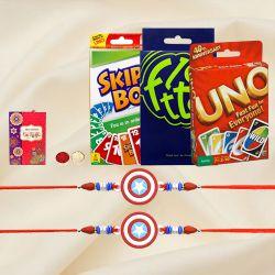 Exclusive Kids Rakhi Set N Card Games Set with Roli Tika N Card