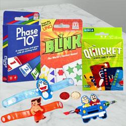 Stunning Kids Rakhis N Card Games Set with Roli Tika N Card
