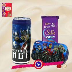 Dashing Captain America Rakhi, Chocolate, Marvel Lunch Box N Sipper Bottle