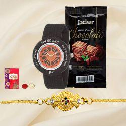 Classy Golden Bracelet Rakhi with Zoop Analog Watch N Jacker Wafer Cube