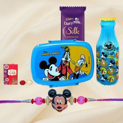 Smarty Mickey Rakhi, Chocolate, Mickey Mouse Lunch Box N Water Bottle