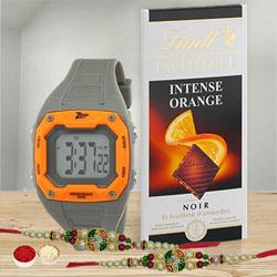 Classic Thread Rakhi with Lindt Chocolate N Digital Watch