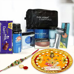 Fancy Stone studded Rakhi, Chocolate, Thali N Park Avenue Mens Grooming Kit