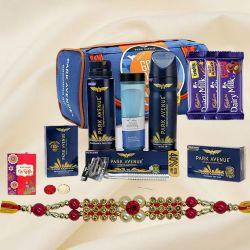 Fabulous Park Avenue Mens Care Kit with Assorted Chocolates N Trendy Rakhi