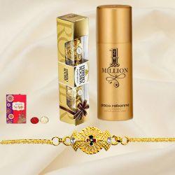Stunning Golden Bracelet Rakhi with Paco Rabanne Deo Spray N Chocolate