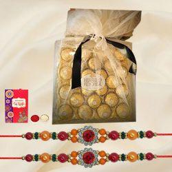 Charming Set of 2 Stone Rakhi with Ferrero Rocher Chocolates