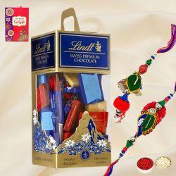 Dashing Bhaiya Bhabhi Rakhi Set with Swiss Lindt Chocolates