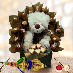 Classy Bhaiya Bhabhi Rakhi Set with Handmade Chocolates N Teddy Arrangement