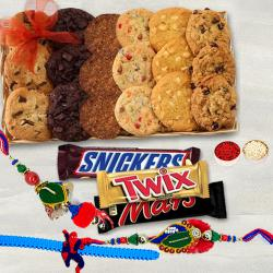 Fancy Family Rakhi Set with Imported Chocolates N Cookies from Cookie Man