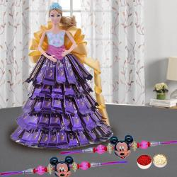 Fancy Mickey Rakhi Set N a Lovely Doll with Chocolate Dressing