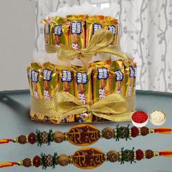 Fabulous Mere Bhaiya Rakhi Set with 2 Tier Cadbury 5 Star Arrangement