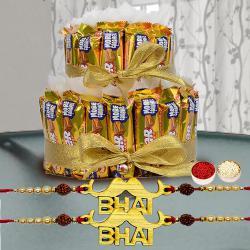 Exquisite Set of 2 Bhai Rakhi with 2 Tier Cadbury 5 Star Arrangement