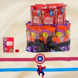 Fancy Captain America n Spiderman Rakhi with 2 Tier Chocolate Arrangement