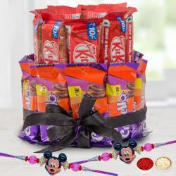Suave Pair of Mickey Rakhi with 2 Tier Chocolate Arrangement