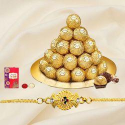 Exquisite Golden Bracelet Rakhi with Ferrero Rocher in Golden Thali