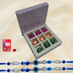 Elegant Set of 2 Evils Eye Rakhi with Ambrosial Handmade Chocolates