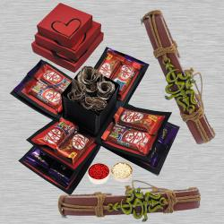 Fancy OM Rakhi with 3 Layer Chocolate Explosion Box