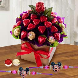 Trendy Mickey Rakhi Set with Assorted Chocolates Arrangement