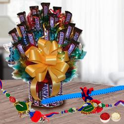 Gaudy Family Rakhi Set with Tower Arrangement of Imported Snickers