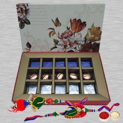 Exclusive Bhaiya Bhabhi Rakhi Set with Handmade Chocolates Box