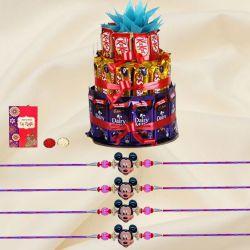 Cool Set of 4 Kids Rakhi with 3 Tier Chocolates Arrangement
