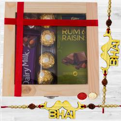 Classy Pair of Bhai Rakhi with Assorted Chocolates in Wooden Box