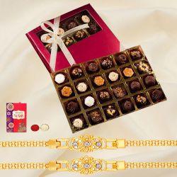 Graceful Golden Bracelet Rakhi with Handmade Rum filled Chocolates Box