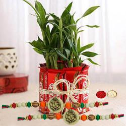 Pious Ganesh Rakhis with 2 Tier Bamboo Plant N Kitkat Arrangement
