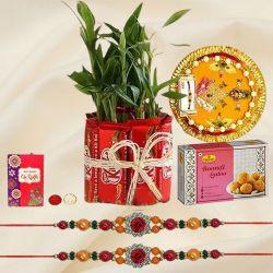 Distinctive Rakhi with Kitkat N Plat Arrangement, Sweets N Thali