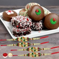 Stunning Set of 4 Rakhis with Oreos Dipped in Belgian Chocolates