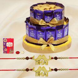 Lovely pair of Bhai Rakhi with Tower Arrangement of Chocolates